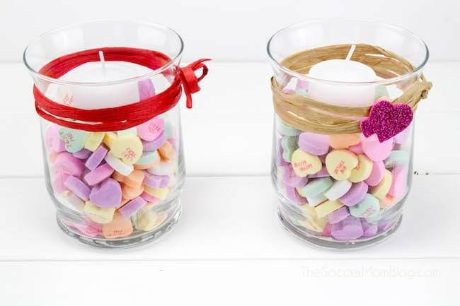 Handmade Valentine's heart votive candles gift idea