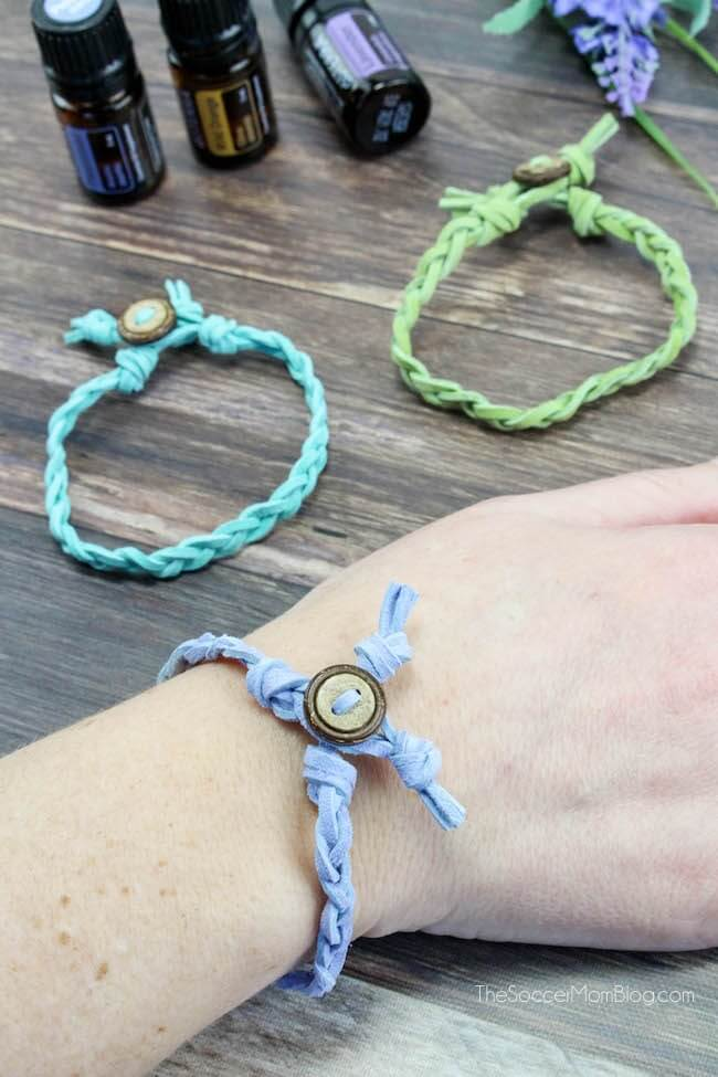 aromatherapy bracelet on wrist