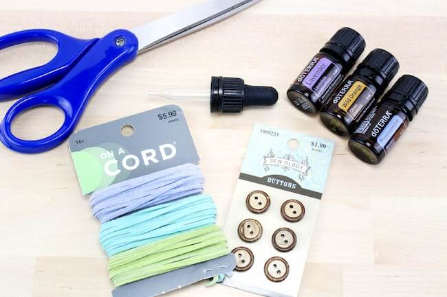 Supplies used to make DIY essential oil diffuser bracelets