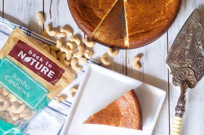 Dairy free cheesecake made with Back to Nature jumbo cashews