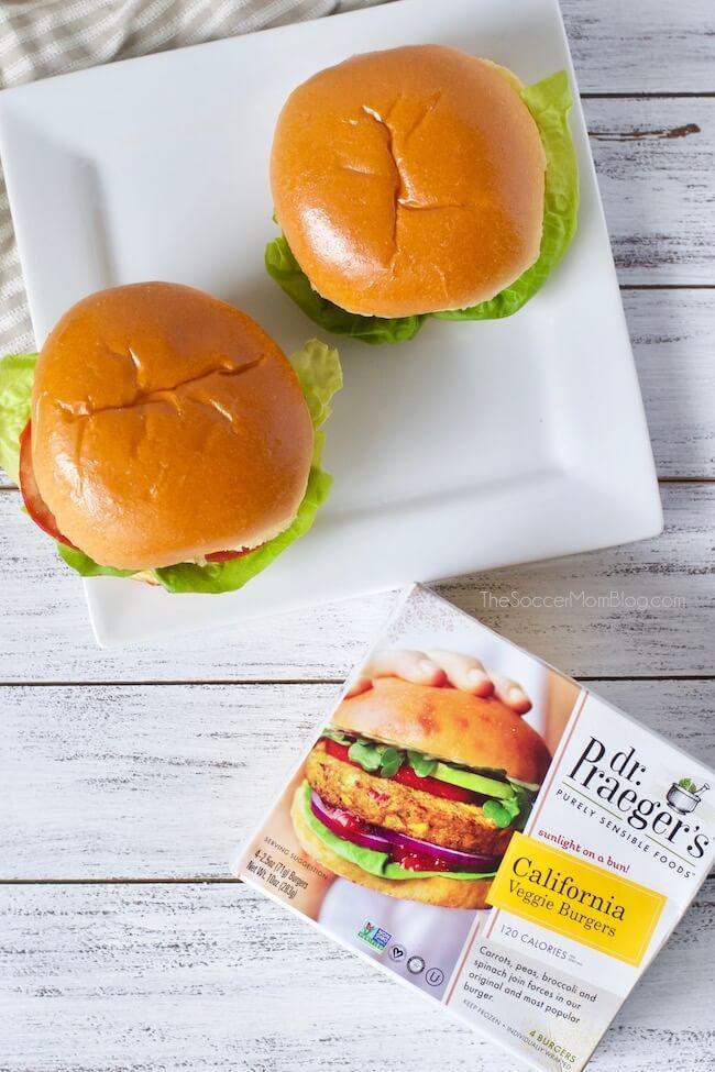 2 veggie burgers and box of Dr. Praeger's California Veggie Burgers