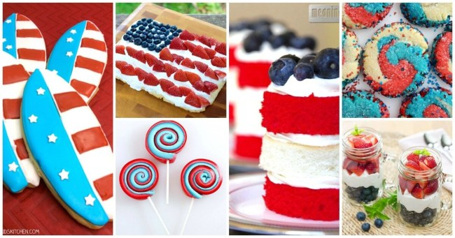 Find all kinds of amazing recipe inspiration with this HUGE collection of 50 Red White and Blue Desserts perfect for Memorial Day and the 4th of July!