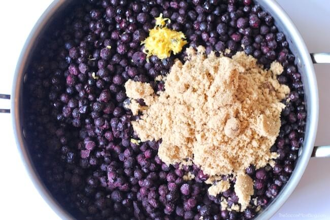 wild blueberries in pan with brown sugar