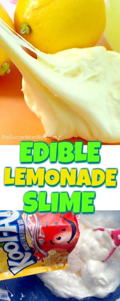 Super stretchy and tastes just like the classic summer drink — this edible Lemonade Slime is sweet sensory fun!