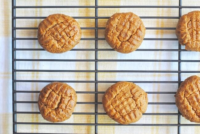 Fresh baked low carb peanut butter cookies on cooling rack