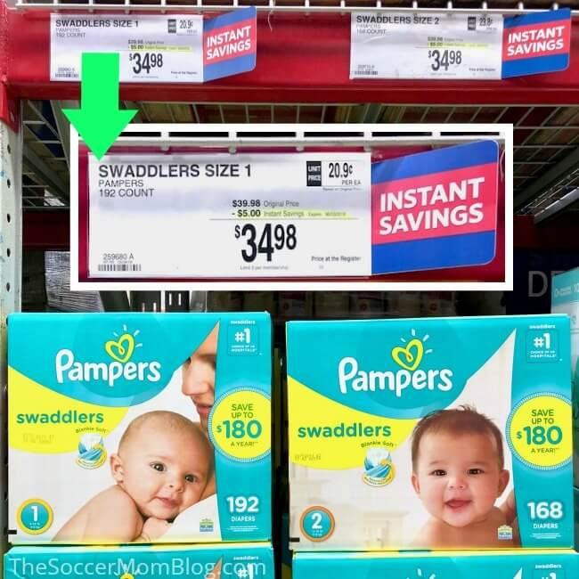 Save $5 on Pampers diapers at Sam's Cub