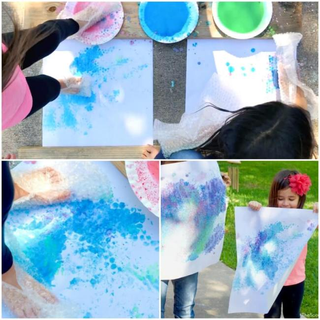 bubble wrap painting collage