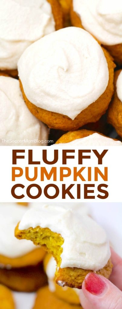 Thick and fluffy pumpkin cookies topped with luscious cream cheese frosting are one of the most heavenly fall desserts ever!