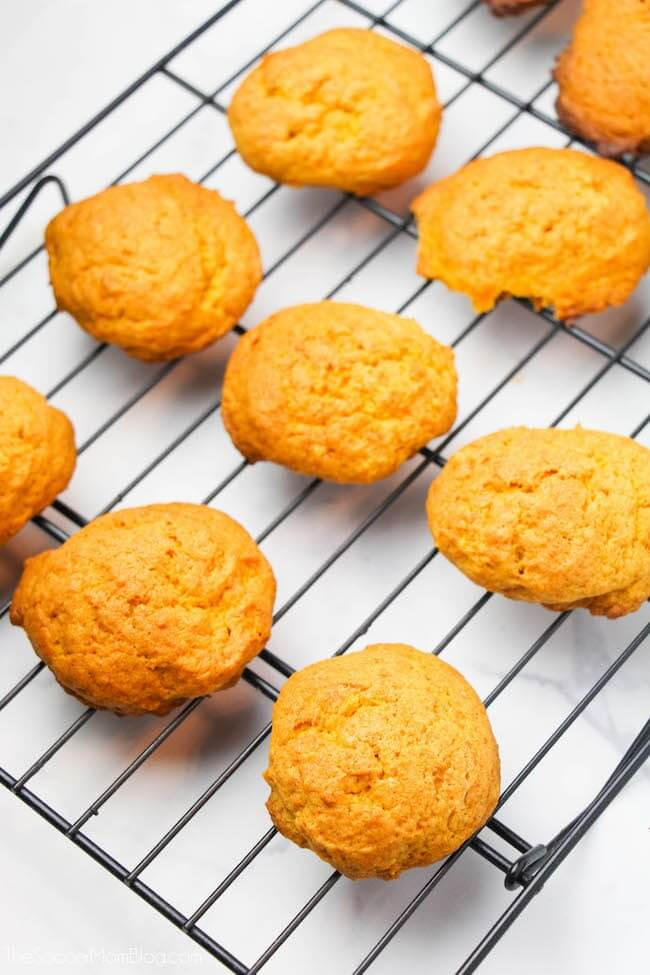 Fresh baked pumpkin cookies on wire cooling rack