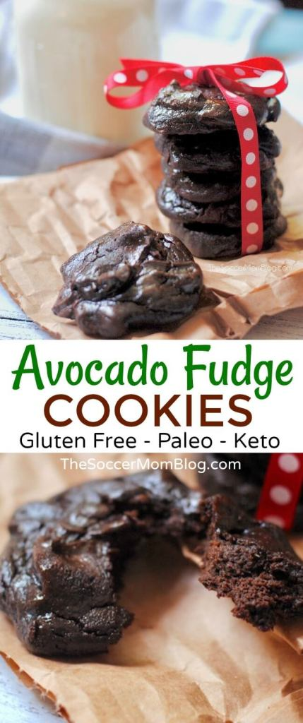 WOW!! These chocolate avocado cookies are unbelievably rich and fudge-y and only about 115 calories each! Gluten free, and can be made paleo and keto friendly too!