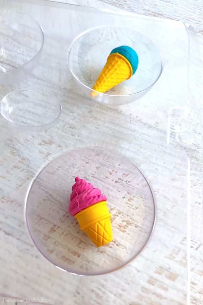 Ice cream erasers in silicone soap molds