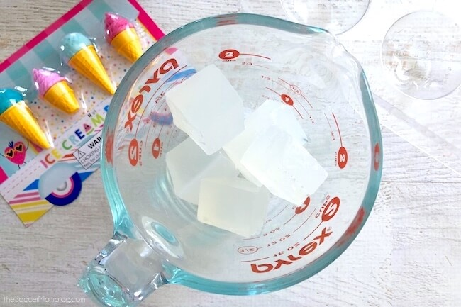 Cubes of glycerine soap base in measuring cup
