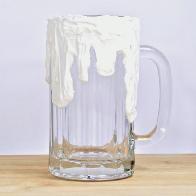 Glass mug with frosting to make a freak shake