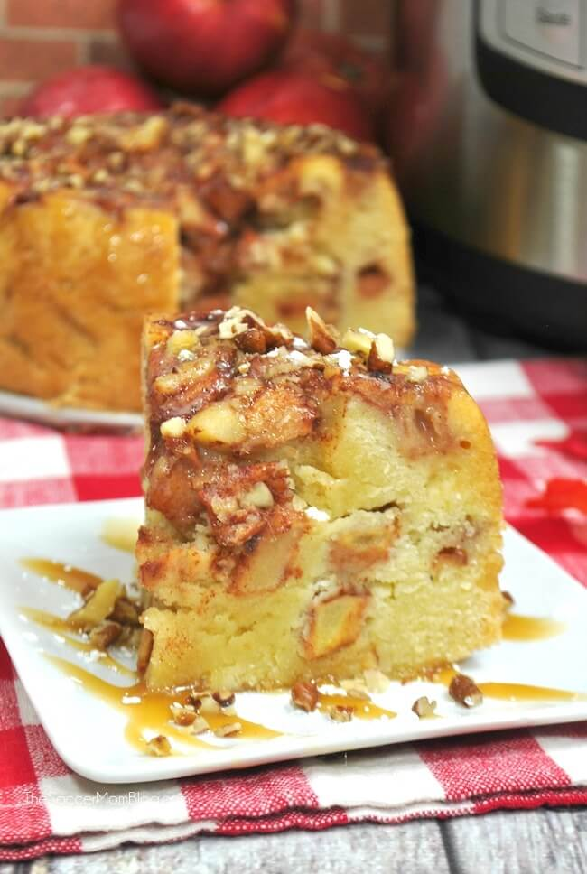 This set-it-and-forget-it Instant Pot Apple Cake is not only super easy, but super delicious! Four layers of moist cake and juicy apples in every bite!