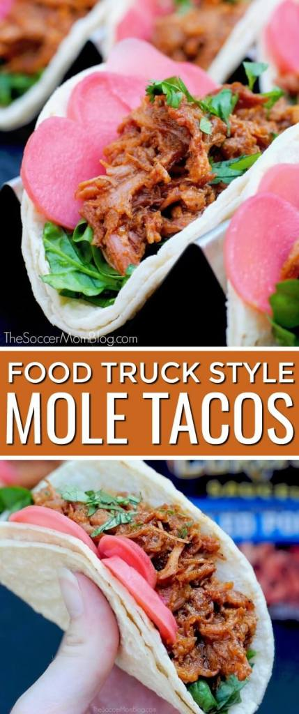 This shortcut recipe for easy pork mole tacos brings out authentic Mexican flavors...with a twist! Ready in minutes!