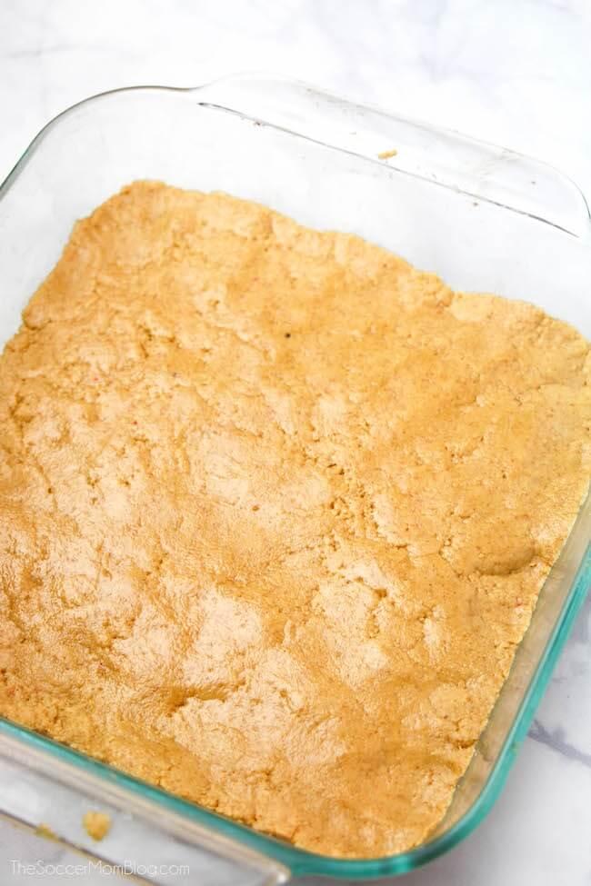 peanut butter bars in baking dish