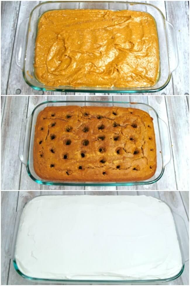 How to make a pumpkin poke cake step by step photo