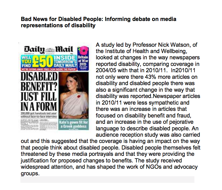 Image result for negative media portrayals of disabled people