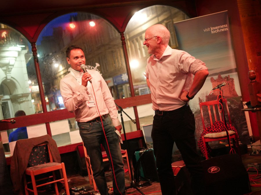Keith and Graeme sharing a joke on stage during the Opening Reception.