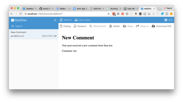 Example of Maildev