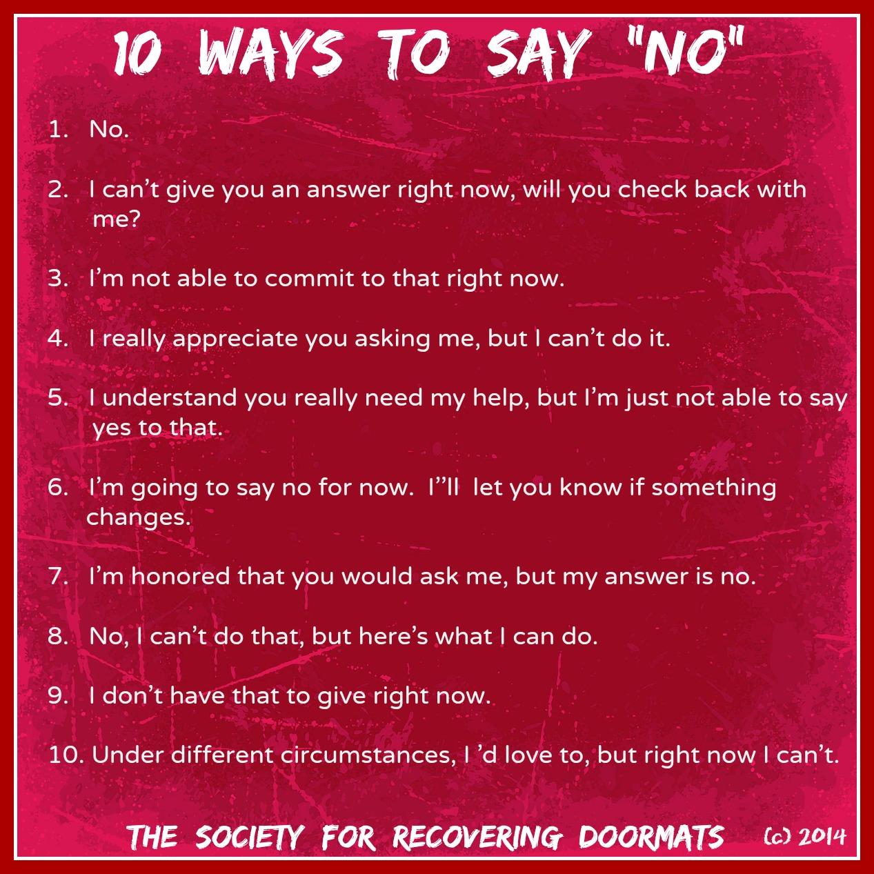 10 Ways To Say No