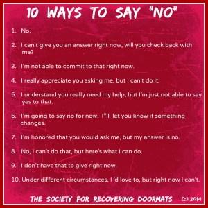 10 ways to say no.