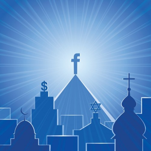 several steeples with different world religion symbols atop each peak with the highest one with the facebook F