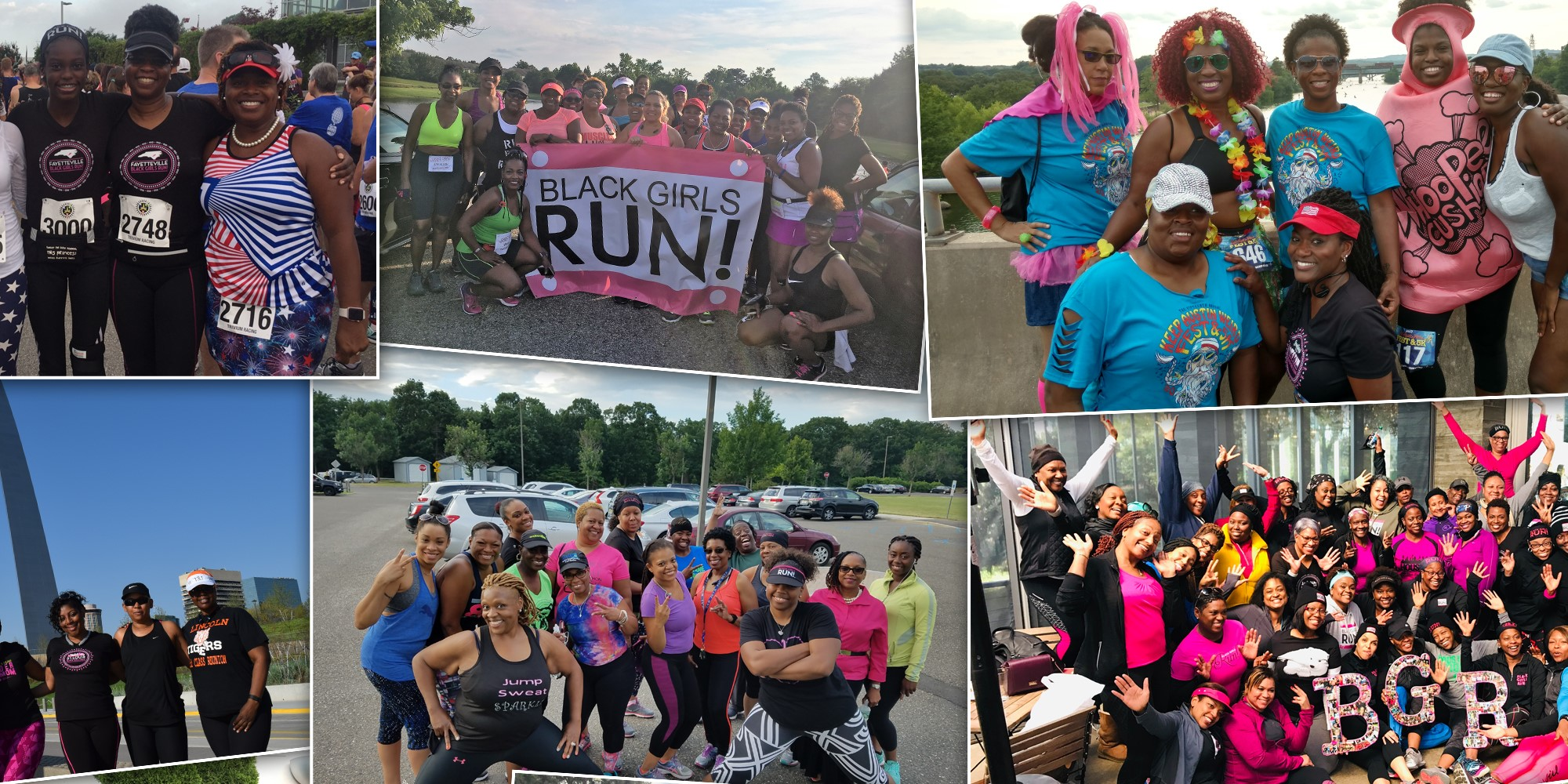 A collage of six group images featuring Black women in running gear before or after going for runs.