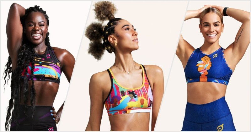 Three Black women, wearing fitness clothing, who work as virtual trainers for Peleton.