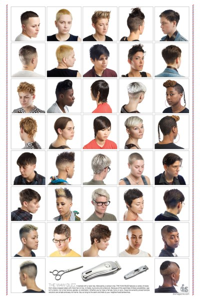 grid with 15 different images of hairstyles usually associated with Lesbians