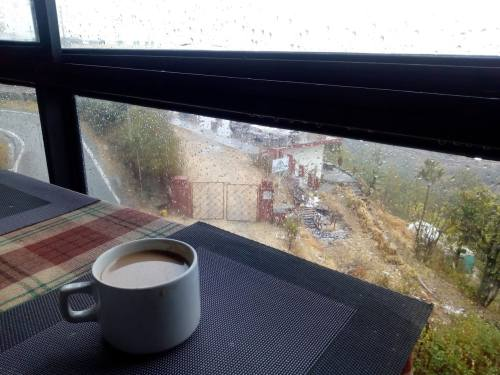 cup of tea near a window