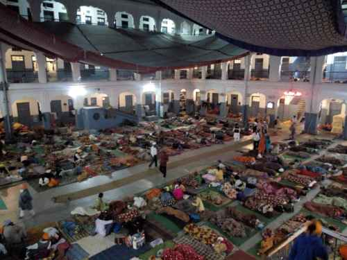 lot of people sleeping in an open hall