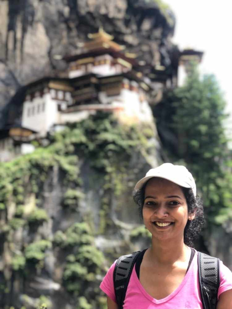 Girl with tiger's nest monastery
