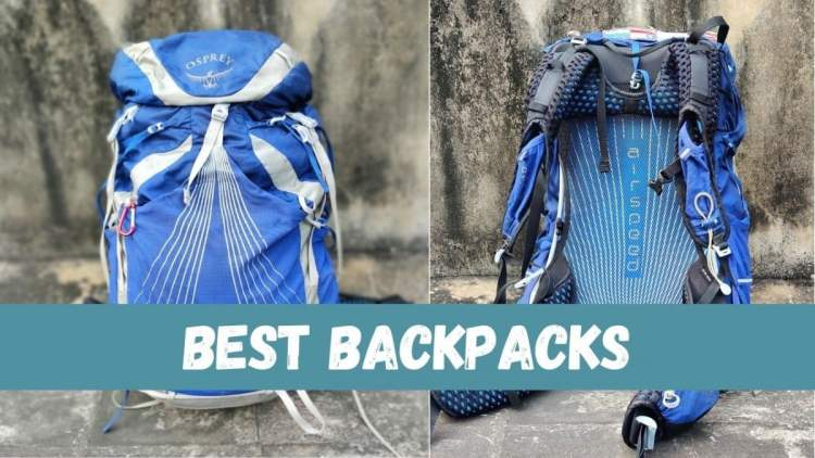 osprey backpack front and back displayed side by side with text 'best backpacks'