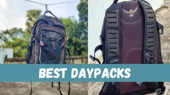 osprey daypack front and back side by side with text 'best daypacks'