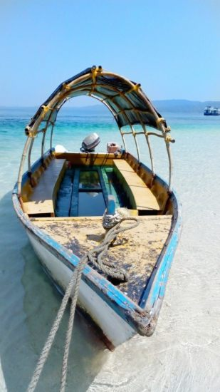 A boat with glass bottom