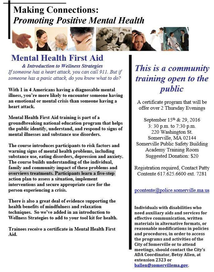 Somerville Police COHR Hosting Free Training Sept 15th & 29