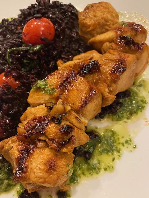 Peruvian Chicken Skewers and Basil Chimichurri