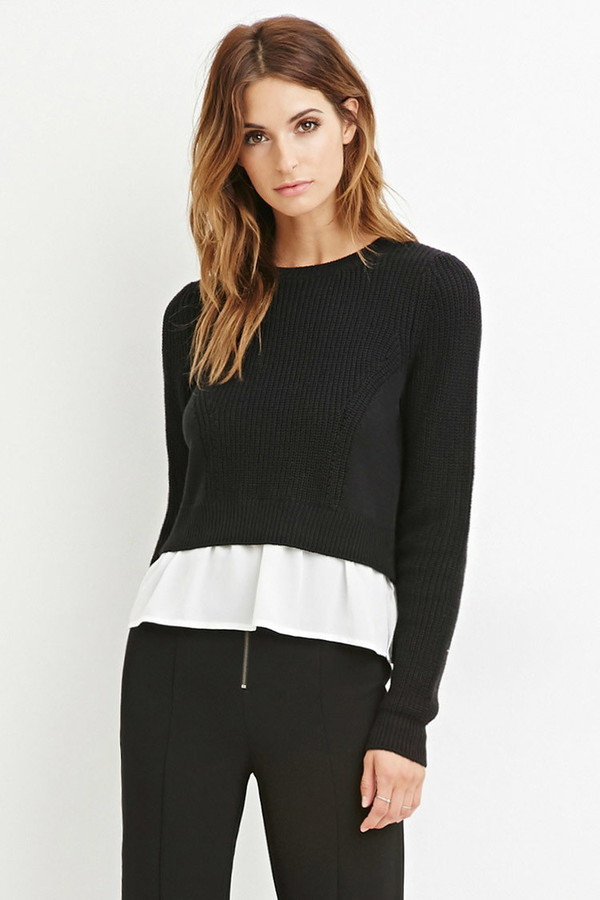 chiffon layered sweater