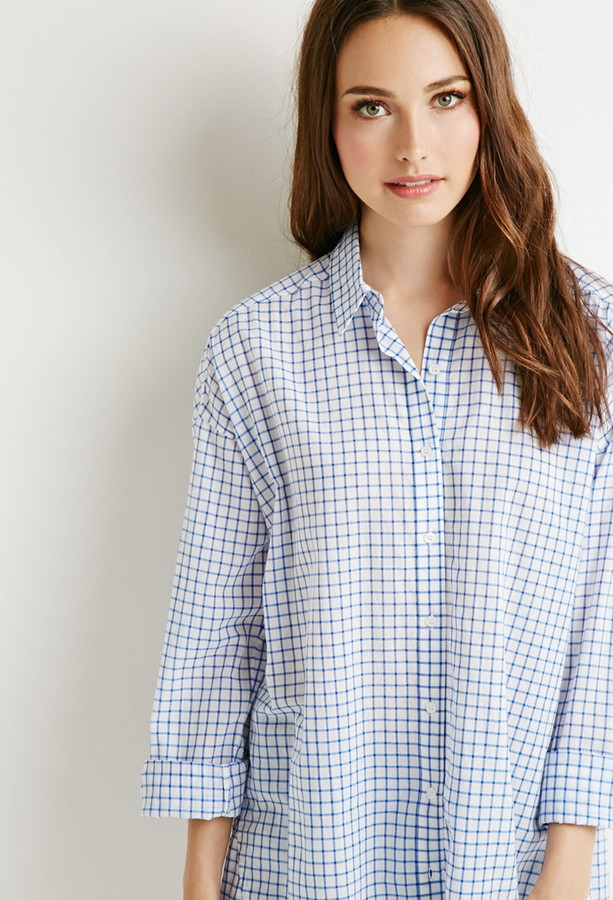 oversized grid pattern shirt