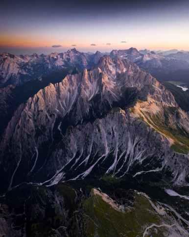 bird s eye view of mountains during dawn