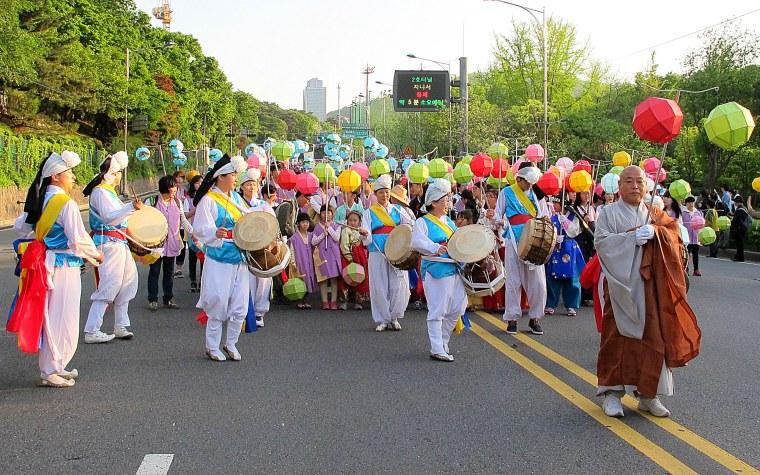 Lotus Lantern Parade beginning