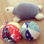 hand sewn balls and turtle