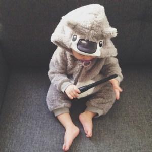 baby in a Koala onesie