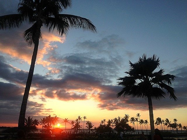 Marriott Resort Luau, Big Island, Hawaii, USA, Sunset