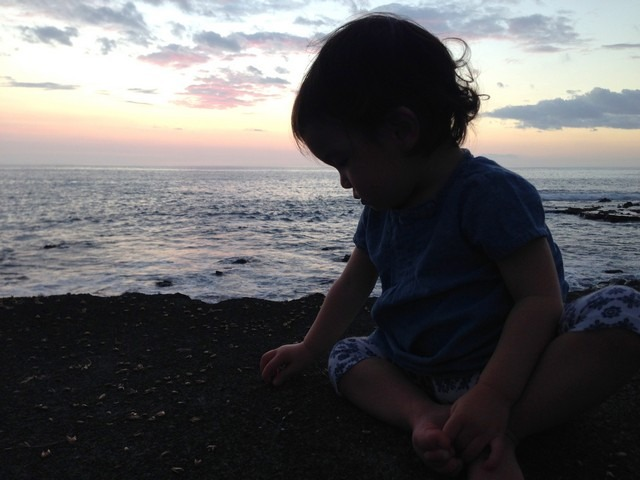 White Sands Beach, Big Island, Hawaii, USA, sunset and baby