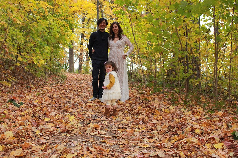 Dayton, Ohio: Family Portrait; Autumn leaves