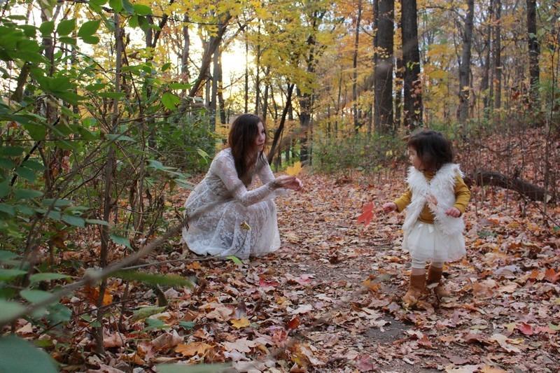 Dayton, Ohio: Family Portrait; Autumn leaves, Hallie & baby