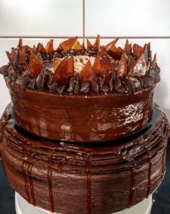 Chocolate fudge & salted caramel two tier cake