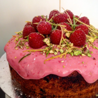 Lemon & blueberry cake with raspberry and pistachio icing